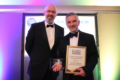 Alan Nesbitt collects the Lifetime Achievement in Business Award on behalf of Arthur Garlant of North East Lincs Engineering