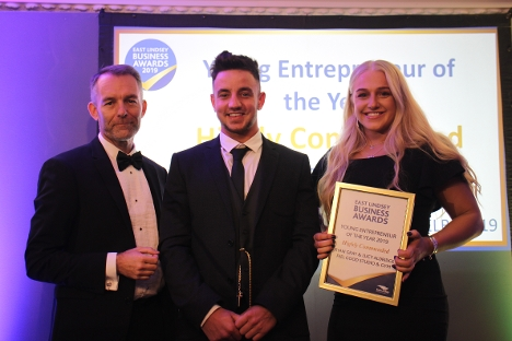 Ryan Gray and Lucy Aldridge are given highly commended for the Young Entrepreneur Category