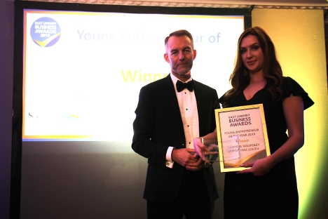 Susanna Waumsley being presented with Young Entrepreneur of the Year - presented by Rob Barlow, East Lindsey District Council Chief Executive